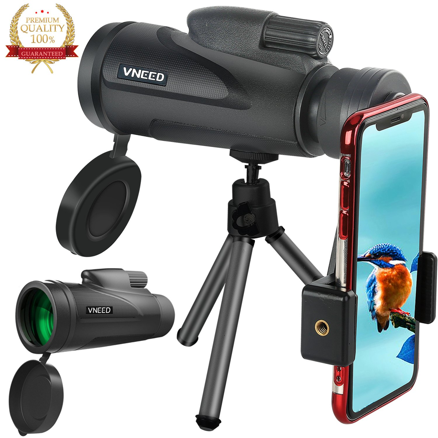 Monocular Telescope for phone 12X50 High-powered BAK4 Prism Low Night Vision Waterproof Fog-proof Smartphone Adapter Tripod Holder for Bird Watching Hunting Camping Hiking Travelling Wildlife (B) by VNEED