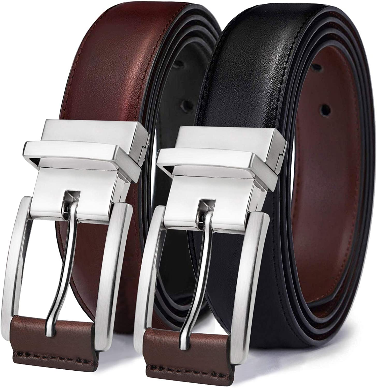 Mens Belt,Bulliant Leather Reversible Belt for Men One Belt Reverse for Two Colors Trim to Fit