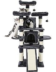 FEANDREA Kratzbaum groß, Katzenbaum mit 3 gemütlichen Aussichtsplattformen, Katzenspielzeug mit 2 Kuschelhöhlen, Dicke Sisalstämme,extra Kratzbrett,stabil, 172 cm, rauchGrau PCT18GYZ