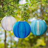 "3 Blue Solar Hanging Nylon Lanterns, 12"", Warm White LEDs, Water Resistant, Tricolor Collection, Auto Timer, Rechargeable Batteries Included"