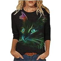 skiyy Sudadera para Mujer Camiseta con Cuello Redondo con Estampado de Gato Tops Blusa Informal de Manga Larga Tops 2021