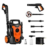 POTEK 1400W 110bar(max) Electric Pressure Washer with Accessories Spray Nozzle Gun,Turbo Wand and Detergent Nozzle