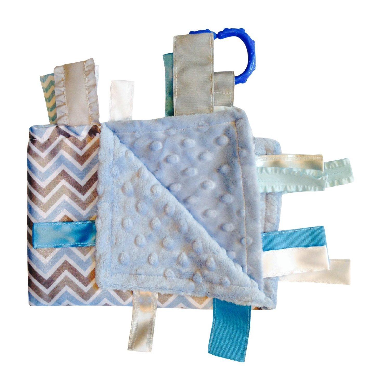 Amazon.com: Sensorial Baby Boy etiqueta manta, azul gris ...