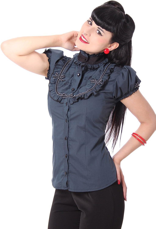 SugarShock - Camisas - con Botones - Rayas - Cuello Mao - para Mujer petróleo 42/44: Amazon.es: Ropa y accesorios