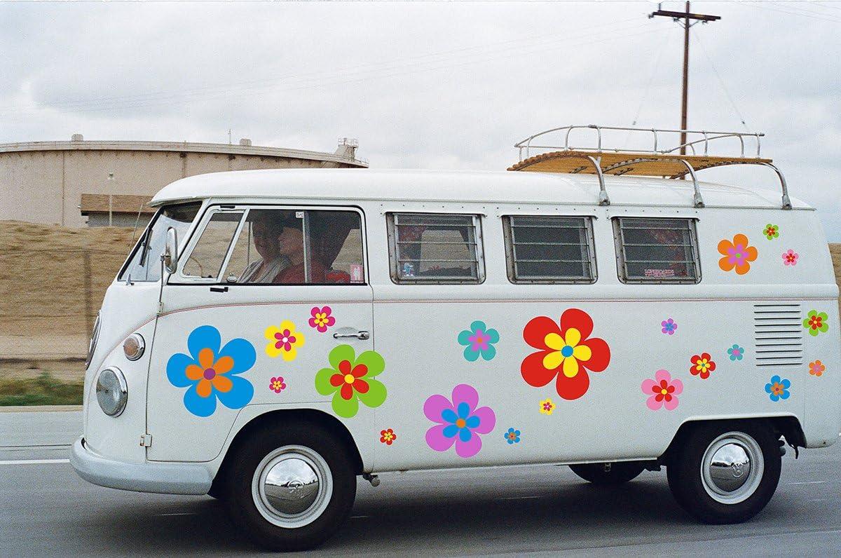 2Er-Set Autositzbez/üge Bunte Hippie Hippie Abstrakte Blumen Power Muster Frieden 1970Er Auto Vordersitze Schutzbeschl/äge