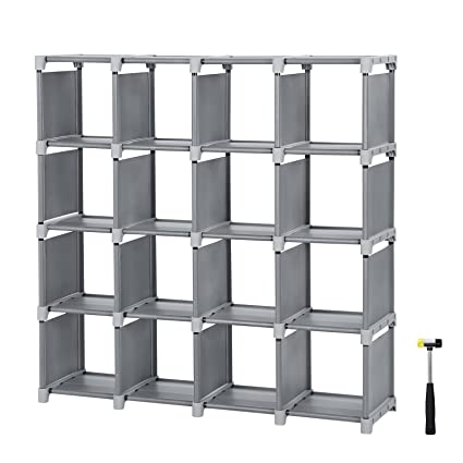 SONGMICS 16 Cube Shoe Rack, DIY Modular Storage Shelves Bookshelf Toy Rack, Display  Cabinet