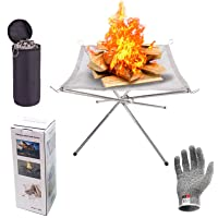 Outdoor Fire Pit, 22inch Collapsing Stainless Steel Mesh with Cut Resistant Gloves and Carrying Bag for Camping, Firepit…