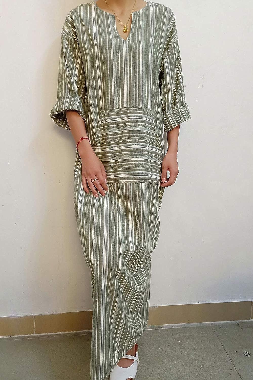 93be4e9f Simgahuva Womens Linen Maxi Dress Cotton Stripes Shift Dresses Plus Size  with Pocket at Amazon Women's Clothing store: