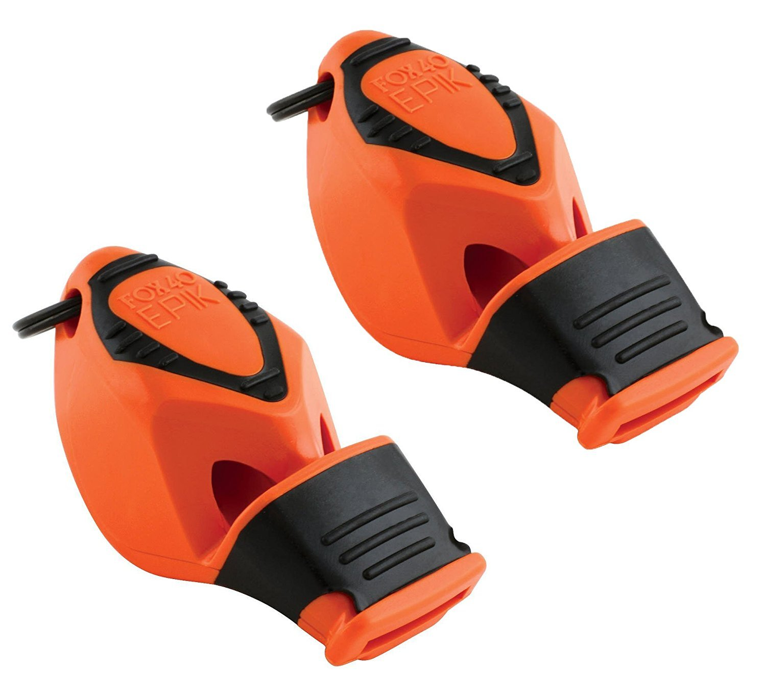 Fox 40 Epik Cushion Mouth Group Sports and Safety Loud Whistle with Lanyard, Orange (2 Pack) by Fox 40