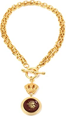 Vintage Brushed Gold Plated Deco Style Adjustable Chain Necklace