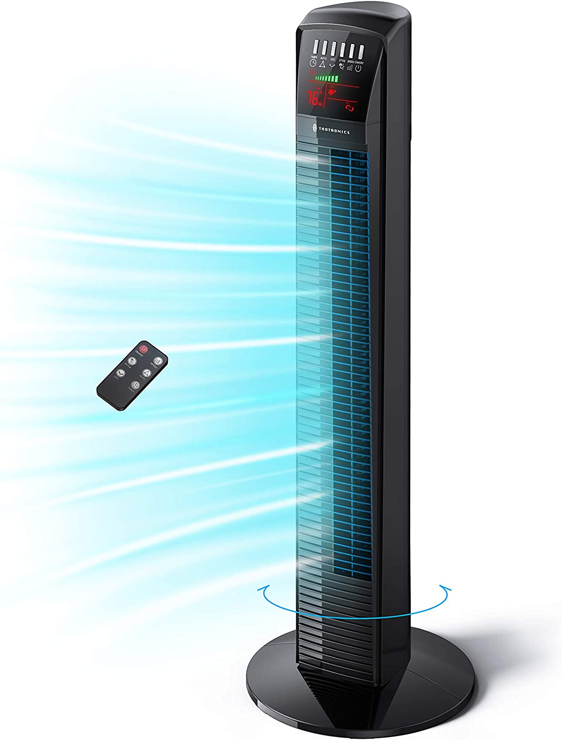 Tower Fan, TaoTronics Oscillating Fan Powerful Standing Fan with Remote & Large LED Display, 9 Modes, Easy Clean, Up to12H Timer Bladeless Floor Fans Portable for the Whole Room Home Office