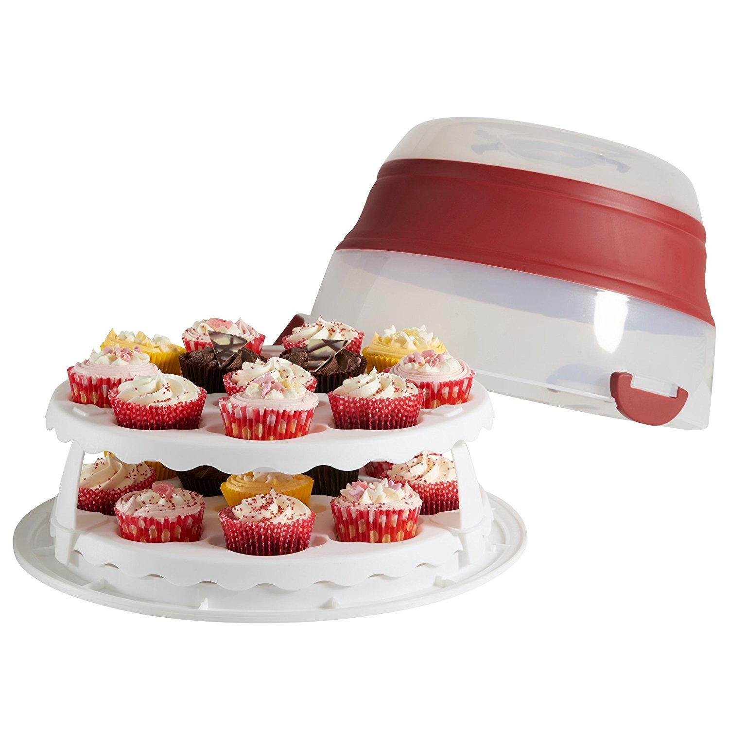 Collapsible Cupcake and Cake Carrier, Holds up to 24 cupcakes / Round or Square cakes, Size; 40cm diameter and 12.7cm when collapsed – Silicone – Red by MisterChef®