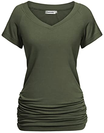 c2373ebc05e1e1 Ouncuty Womens Summer V Neck Short Sleeve Ruched Side Tunic Shirts ...