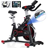 SNODE Indoor Cycling Bike with APP, Magnetic Exercise Bike with Tablet Holder, Stationary Bike Compatible with ZWIFT, Kinomap