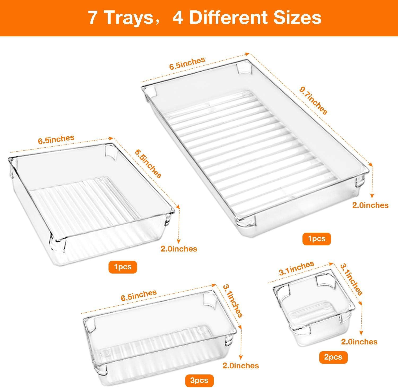 B/üro 7-teilig Badezimmer Omew Schreibtischschubladen-Organizer transparente Schubladen-Tabletts in 4 Gr/ö/ßen vielseitige Aufbewahrungsboxen Make-up-Organizer-Set f/ür Schlafzimmer Kommode K/üche