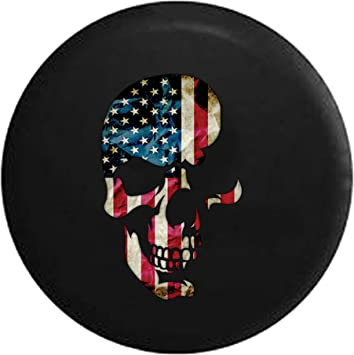 Flag of The United States Sugar Skull Tire Cover Spare Wheel Tire Cover for Trailer Jeep RV ect
