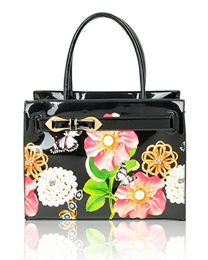 a20fefc3b356 LeahWard Women s Patent Flower Large Size Handbags Tote Bag For Women  Holiday Work College (BLACK