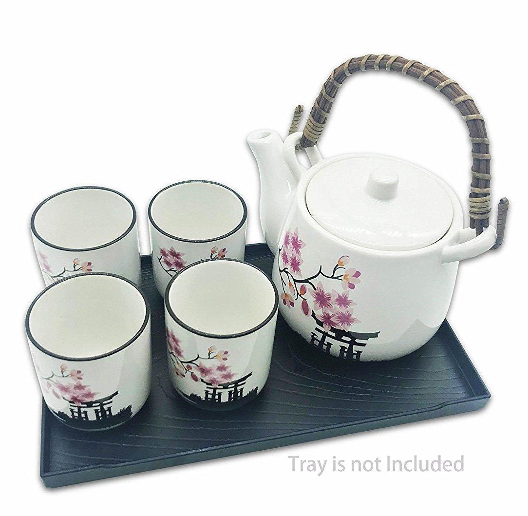 Mose China ~ Deluxe Sakura Flower Japanese Ceramic Tetsubin Teapot & Teacups, Tea Set, Stainless Steel Infuser & bamboo Handle included (6''W 4.5H)