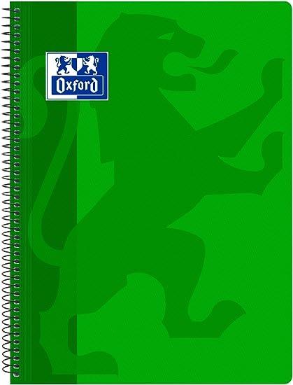 Oxford Classic - Cuaderno espiral, tapa plástico, cuadrícula 4x4, color verde: Amazon.es: Oficina y papelería