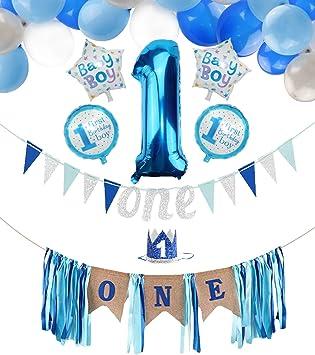 PIXHOTUL Baby Boy 1er Cumpleaños Decoraciones de Fiesta, Banner de Trona con Corona, Bandera de un Cumpleaños, Globos Número 1, Globos de 44 Piezas para Niño el Primer Cumpleaños: Amazon.es: Juguetes y