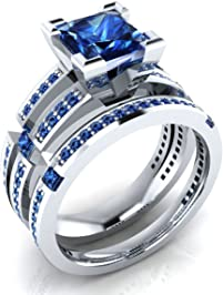 211 Ct Princess Round Cut Created Blue Sapphire Wedding Band Engagement Bridal Ring Set 18K
