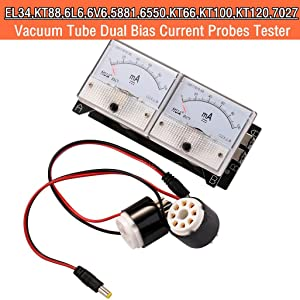 Nobsound 8-Pin Dual Bias Current Probes Tester Meter for EL34 KT88 6L6 6V6 6550 Vacuum Tube Amp Amplifier (2Meter + 2CT1-C, Cathode Current)
