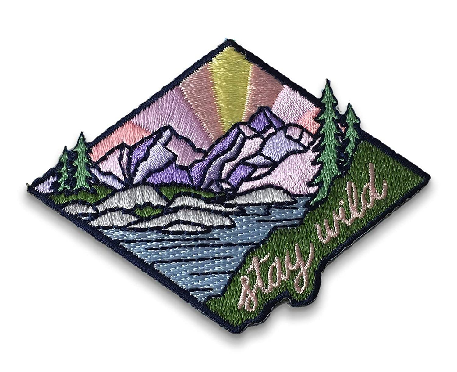 Outdoors Camp Iron on Patch Stay Wild Inspiring Positive Embroidered Applique