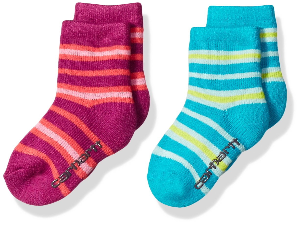 Carhartt Toddler Girl's 2 Pack Infant-Toddler Thermal Crew Socks With Grippers GA861-2-C