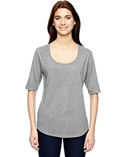 Anvil Women/'s Comfort Tri Blend Deep Scoop Neck Short Sleeve Basic Tee 6756L