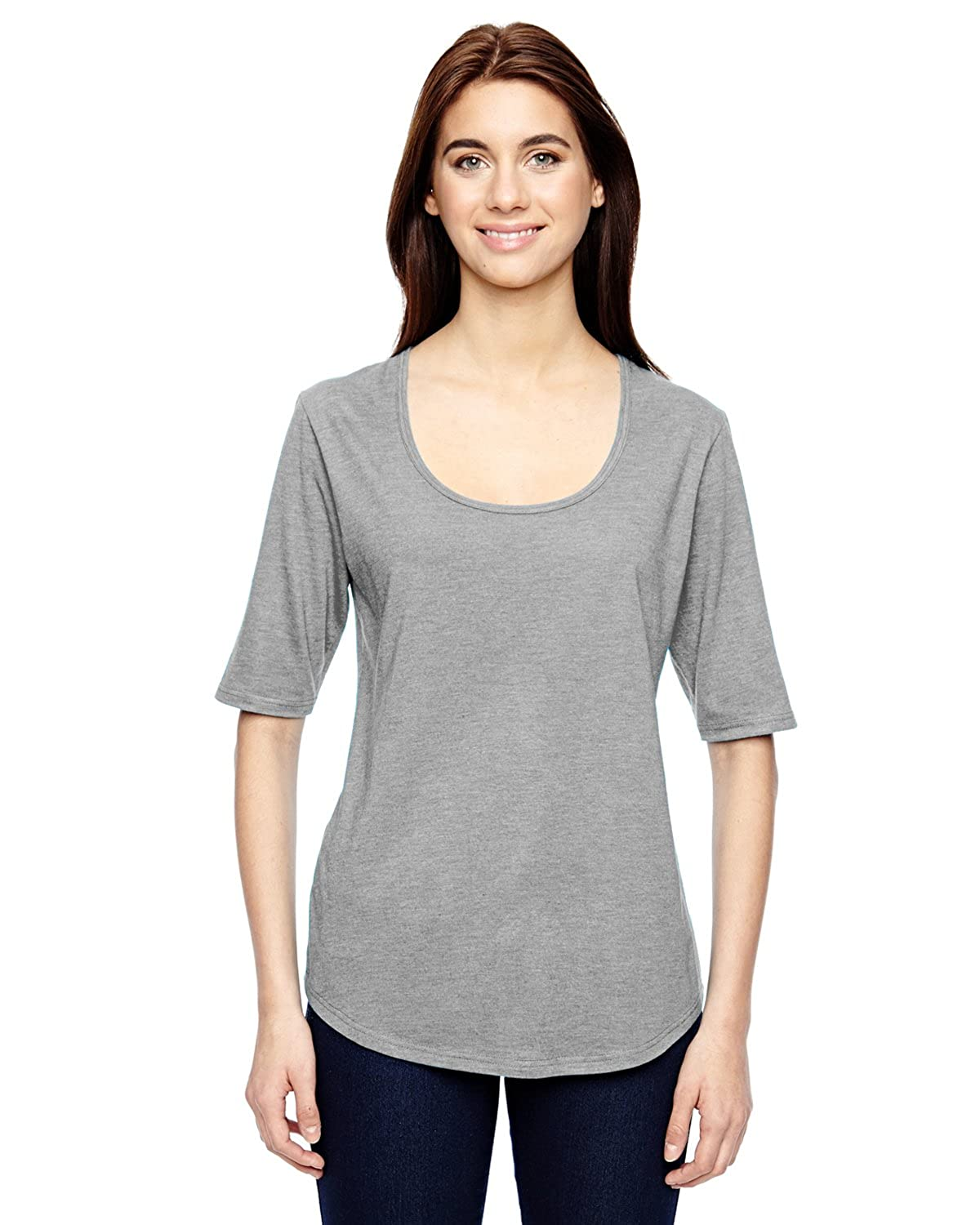 571940baf42 Top1  Anvil 6756L Ladies  Triblend Deep Scoop Half-Sleeve T-Shirt Cotton  Blend