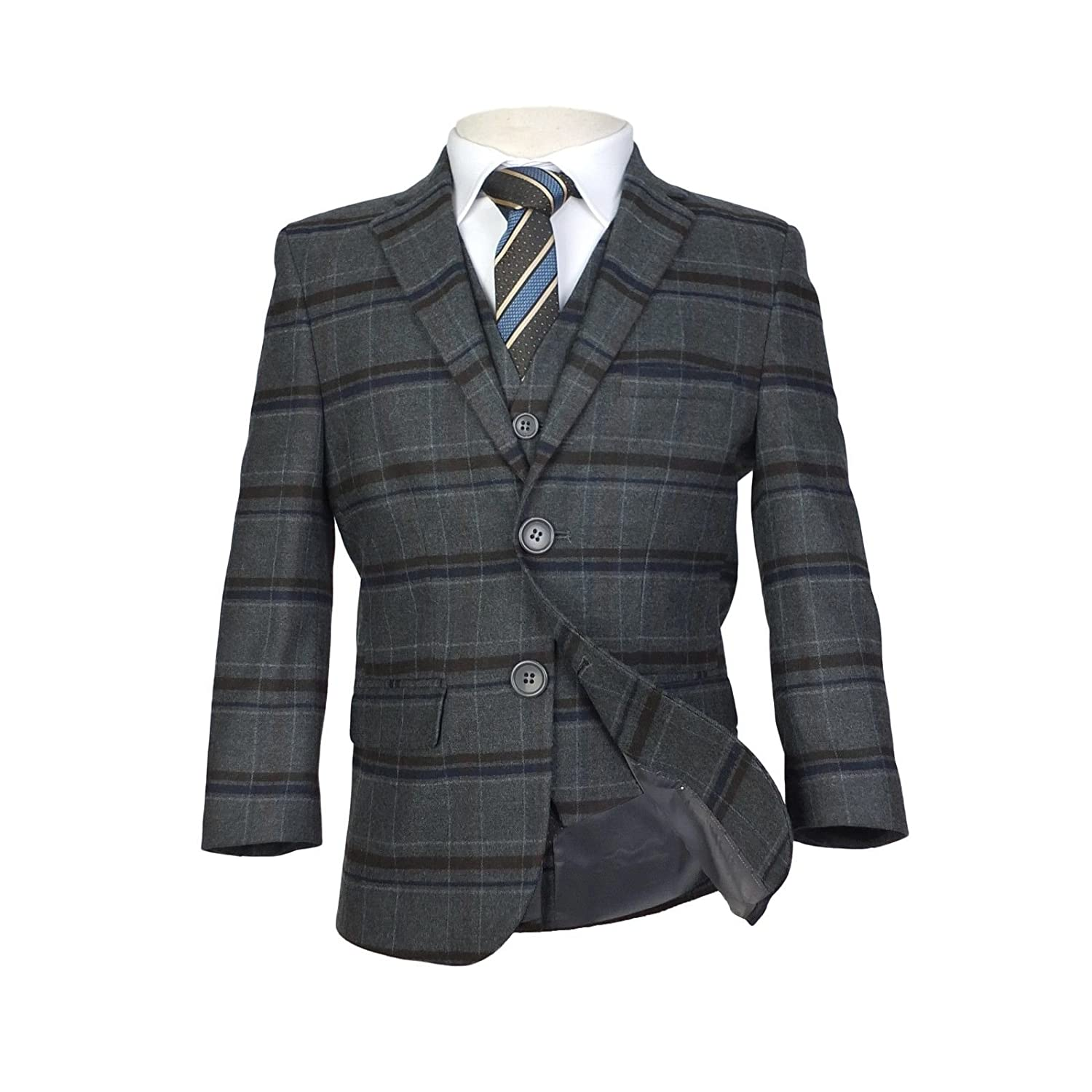 Boys Dark Grey Check Suit Kids Suits Children Prom Suit For Any Occasion Teen Suits