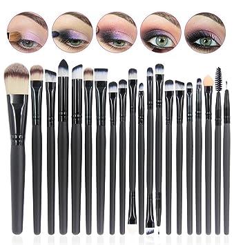CINEEN 20Pcs Set de Brochas de Maquillaje Profesionales Cepillos Pínceles de Maquillaje con Mango de Madera Productos Cosméticos para Labios Ojos ...