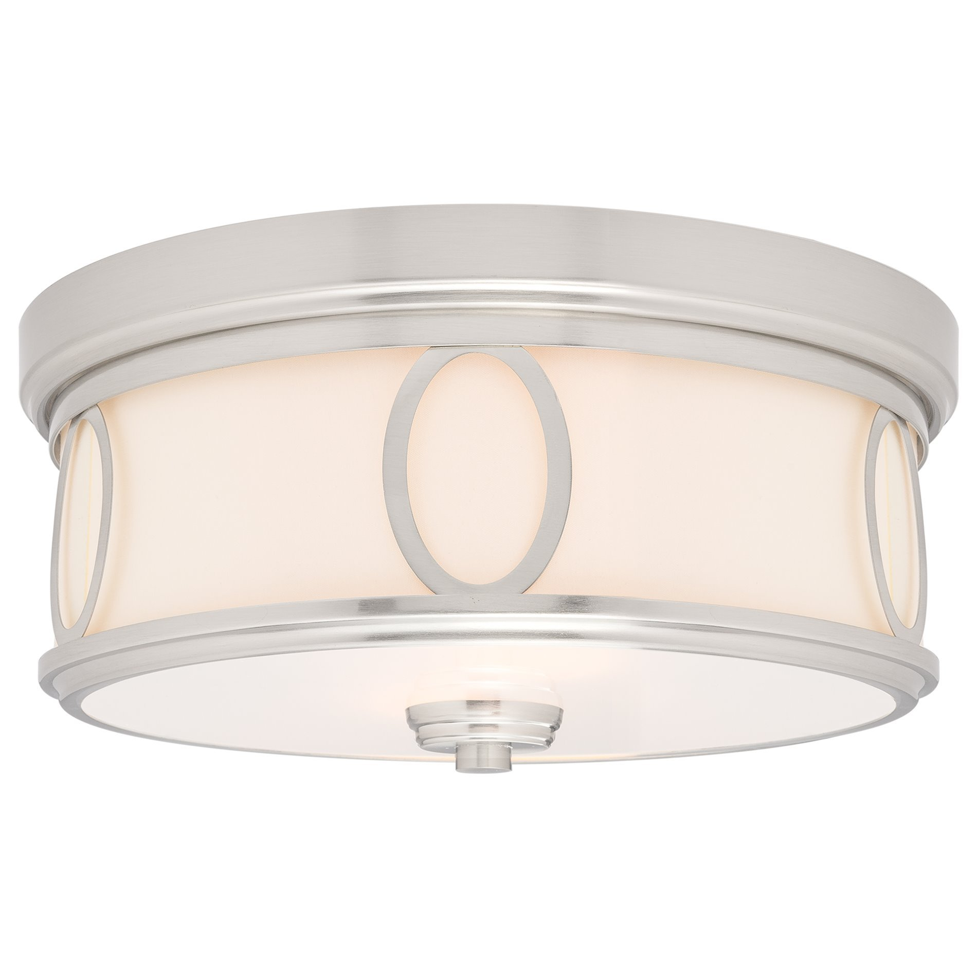 Kira Home Simone 13.5'' Round 2-Light Flush Mount Ceiling Light with Glass Diffuser, Brushed Nickel Finish