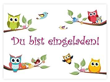 12 Einladungskarten Zum Kindergeburtstag U0026quot;Eulenu0026quot; //  Geburtstagseinladungen Einladungen Geburtstag Kinder Erwachsene Jungen