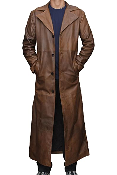 Batman Knightmare Brown Distressed Leather Trench Coat at Amazon ...