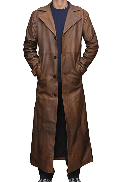 Men's 1900s Costumes: Indiana Jones, WW1 Pilot, Safari Costumes Batman Knightmare Brown Distressed Leather Trench Coat $269.00 AT vintagedancer.com