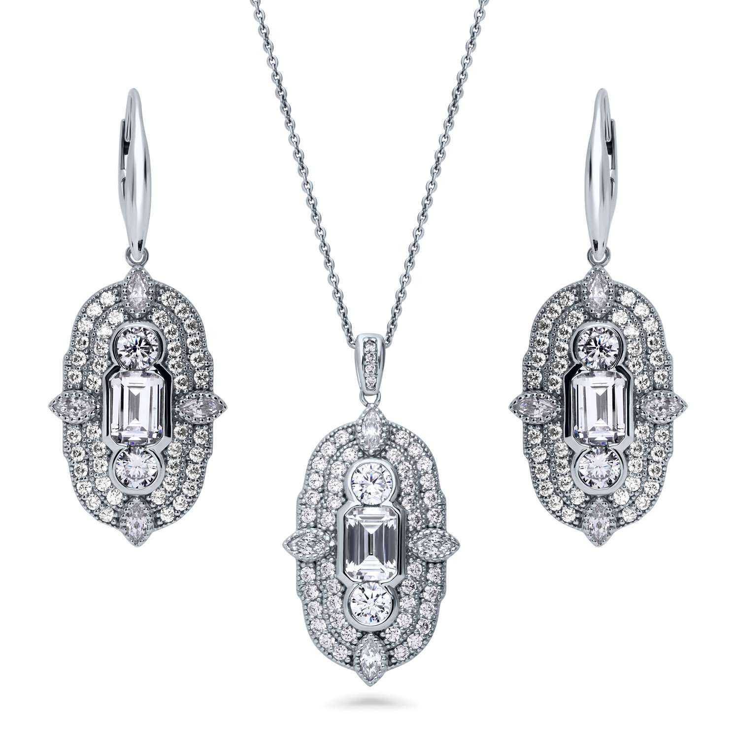 BERRICLE Rhodium Plated Sterling Silver Cubic Zirconia CZ Art Deco Necklace and Earrings Set