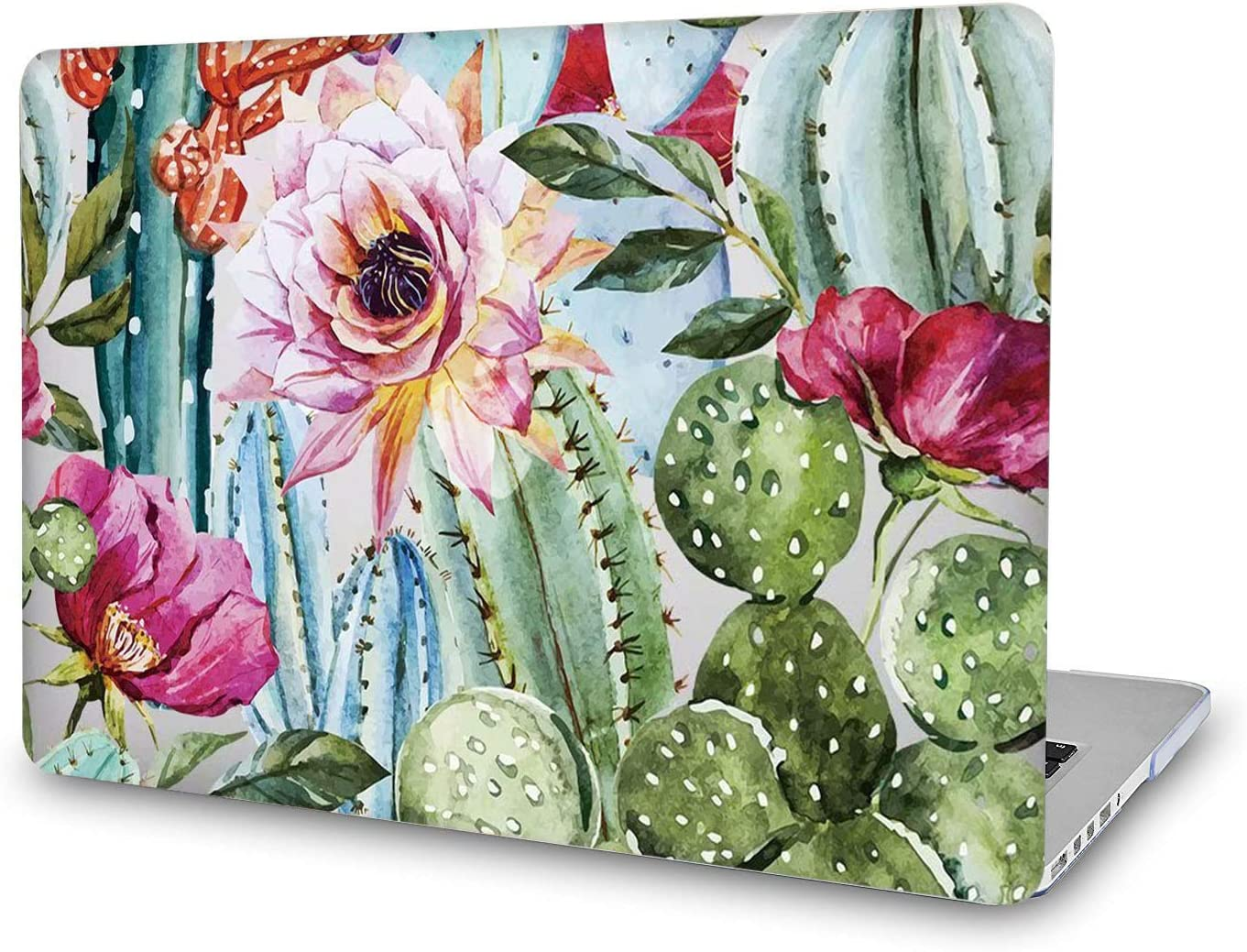 Onkuey Laptop Case Compatible with New MacBook Air 13 inch 2020 2019 2018 Release A2337 M1 A2179 A1932 Non-Slip Plastic Glossy Clear See Through Hard Shell Cover (Cacti Flos and Rose)
