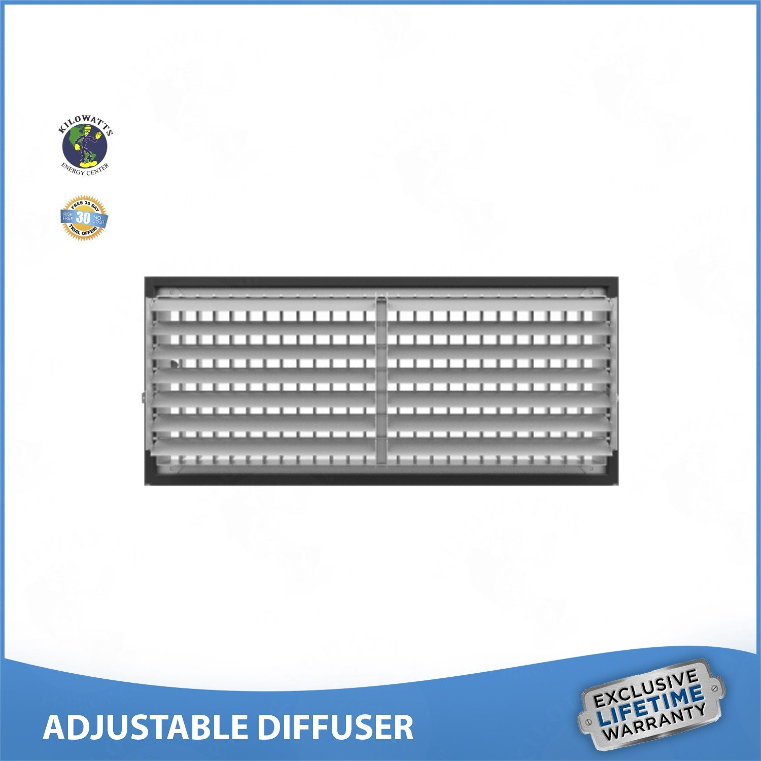 16''w x 6''h ADJUSTABLE DIFFUSER - Vent Duct Cover - Grille Register - Sidewall or Ceiling - High Airflow by Kilowatts Energy Center (Image #2)