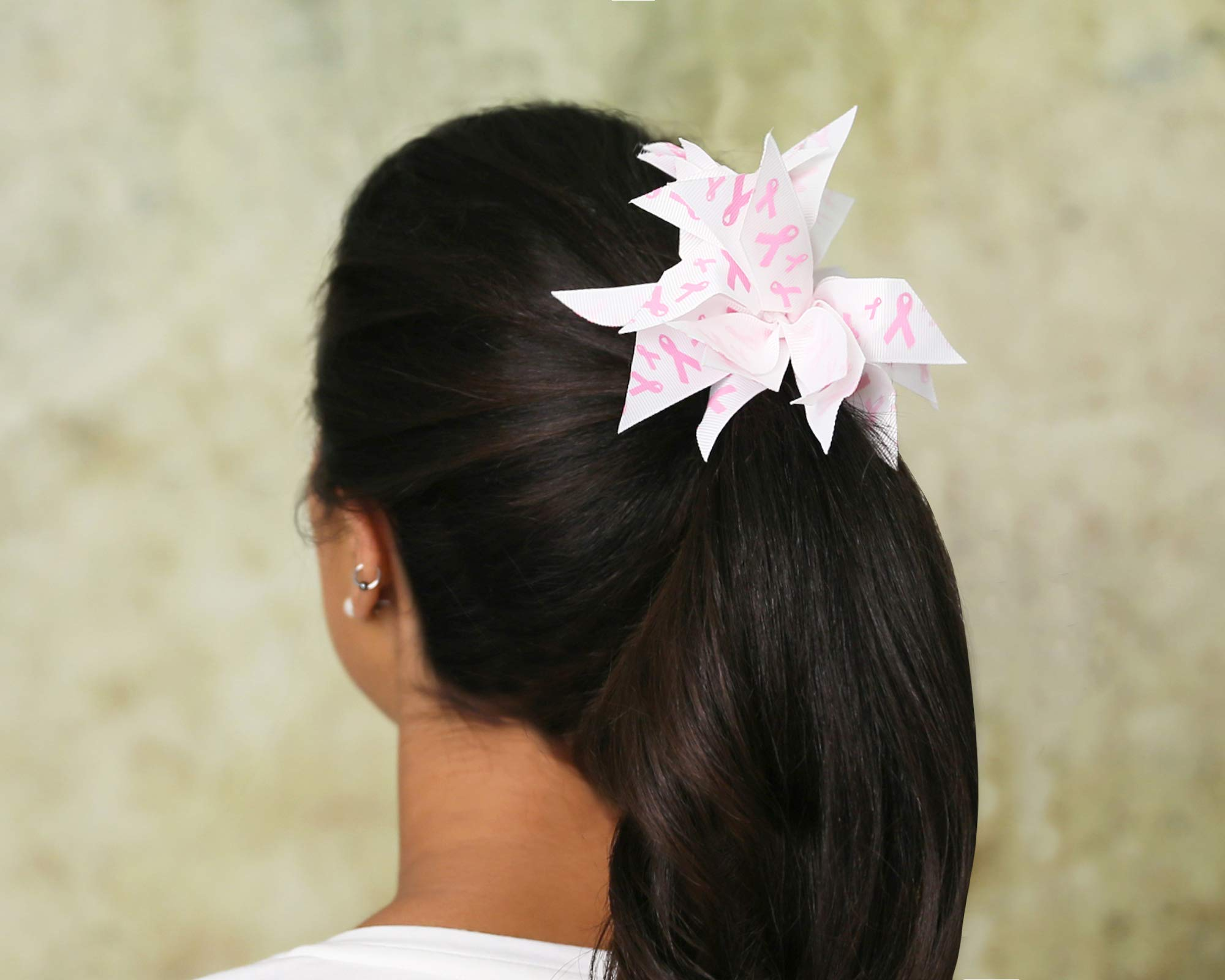 25 Breast Cancer Ribbon Awareness Pink Ribbon Hair Bows (Wholesale Pack - 25 Bows) by Fundraising For A Cause