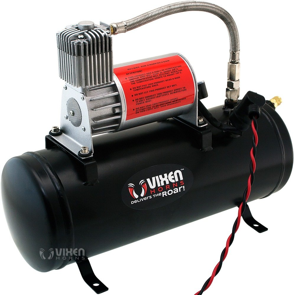 Vixen Horns Loud 149dB 4/Quad Black Trumpet Train Air Horn with 1.5 Gallon Tank and 150 PSI Compressor Full/Complete Onboard System/Kit VXO8530/4114B by Vixen Horns (Image #7)