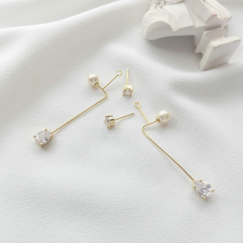 Epinki 925 Sterling Silver Women Stud Earrings Long Geometric Drop Pearl Cubic Zirconia Earrings Gold