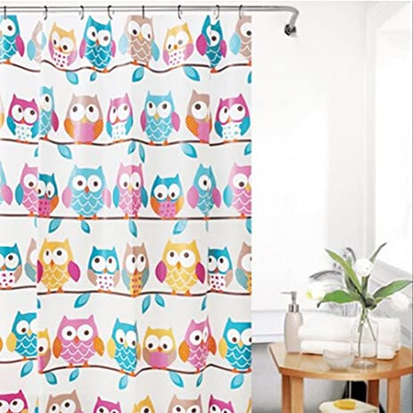 Kids Bathroom Shower Owl Family Colorful Cartoon Pattern Children Bathroom  Shower Curtains With Plastic Curtain Hooks