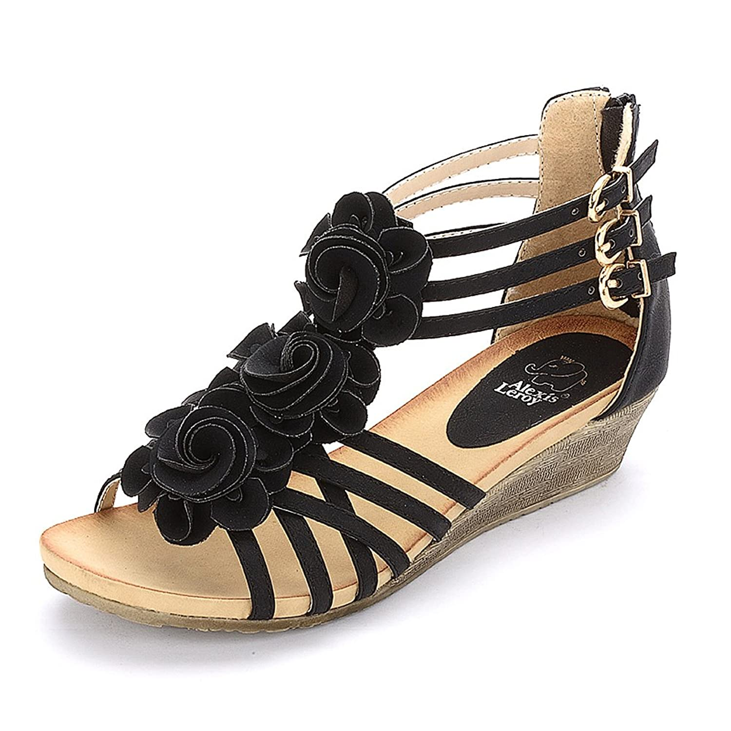 Alexis Leroy New Arrival Women Fashion Summer Wedge Heel T Straps Buckle Sandals by Alexis Leroy