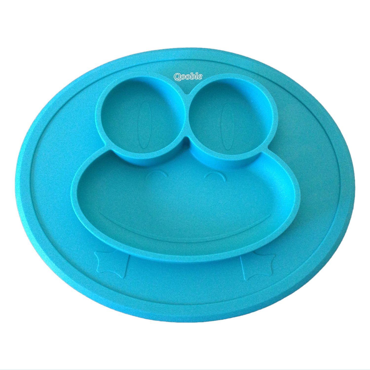 Blue Collapsible Silicone Children and Kids Feeding Plate with 4 Strong Suction Cups Fits Most Highchair Trays Ecoart Baby Placemat with Built in Bowl and Plates