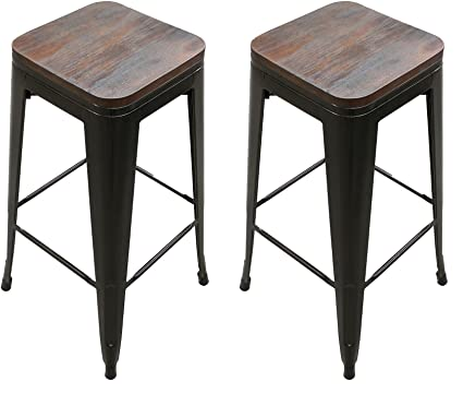 Amazoncom Titan 30 Modern Metal Stacking Counter Bar Stool Wwood