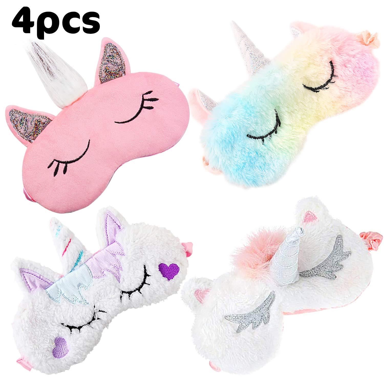Unicorn Sleep Mask,Kapmore 4 Pack Cute Eye Mask Unicorn Horn Sleeping Mask Soft Plush Blindfold Sleep Eye Cover for Kids Girls Women
