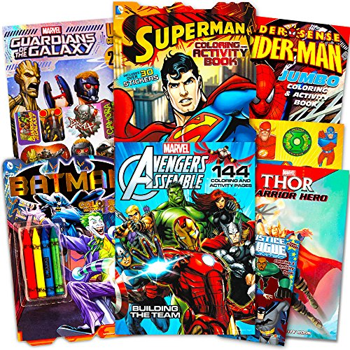 Superhero Giant Coloring Book Assortment ~ 7 Books Featuring Avengers, Justice League, Batman, Spiderman and More (Includes Stickers) -