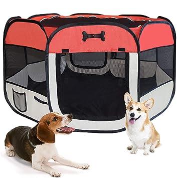 MC Star Parque Cachorro Animales plástico portátil para perros, gatos, conejos y pequeño Animales, 125 x 125 x 64 cm, (Negro, Rojo): Amazon.es: Productos ...