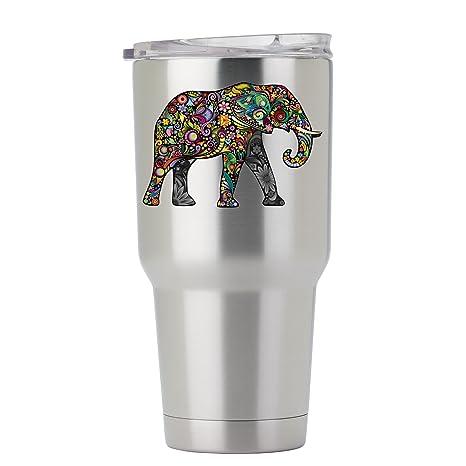 Exotic Floral Elephant - Adhesivo a todo color para vaso de ...